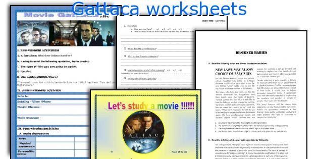 English teaching worksheets Gattaca – Gattaca Movie Worksheet