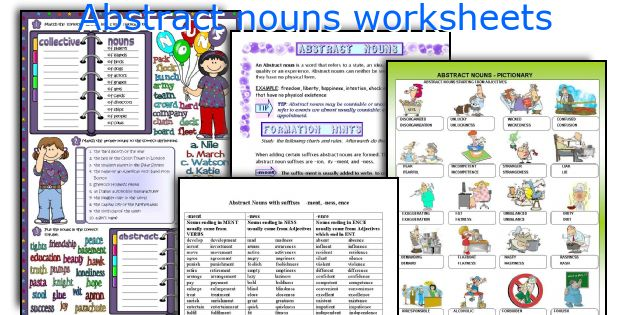English teaching worksheets Abstract nouns – Abstract Noun Worksheet