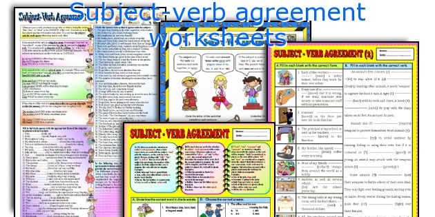 English teaching worksheets: Subject-verb agreement