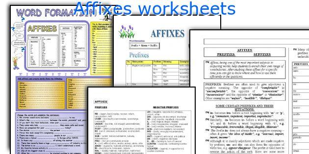 English teaching worksheets Affixes – Affixes Worksheet
