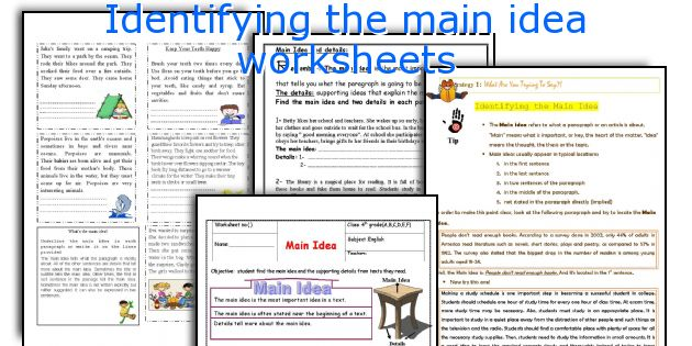 English teaching worksheets Identifying the main idea – Main Idea Worksheet