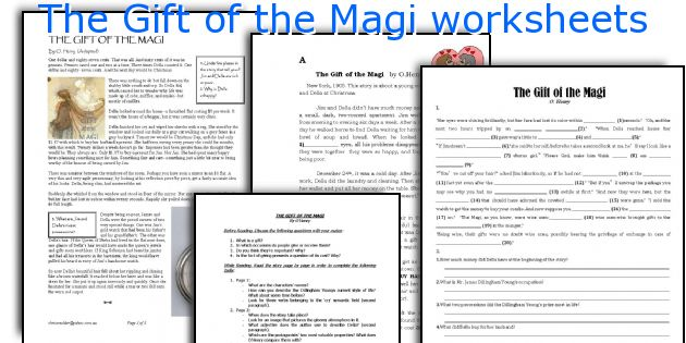 English teaching worksheets The Gift of the Magi – The Gift of the Magi Worksheet