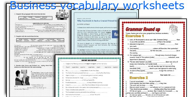 English teaching worksheets Business vocabulary – Business Worksheets