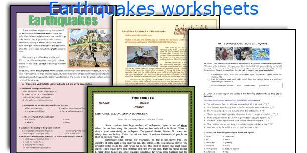 English teaching worksheets Earthquakes – Earthquake Worksheet