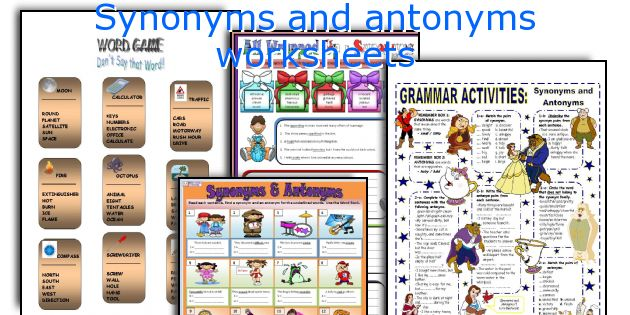 English teaching worksheets Synonyms and antonyms – Synonyms and Antonyms Worksheets