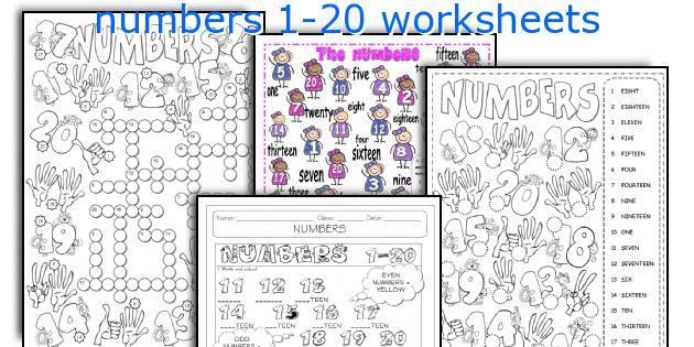 English teaching worksheets: numbers 1-20