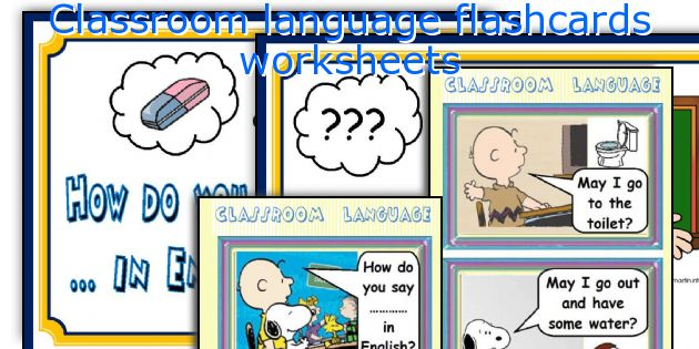 Classroom language flashcards worksheets. English teaching worksheets  Classroom language flashcards