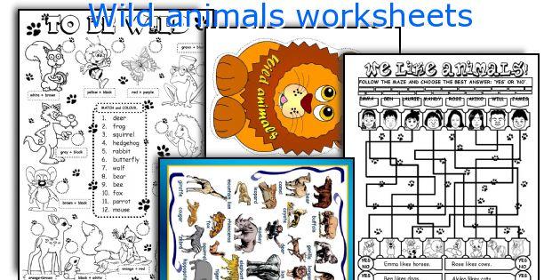 English teaching worksheets Wild animals – Wild Animals Worksheets for Kindergarten