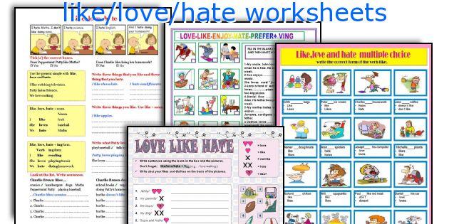 English teaching worksheets: like/love/hate