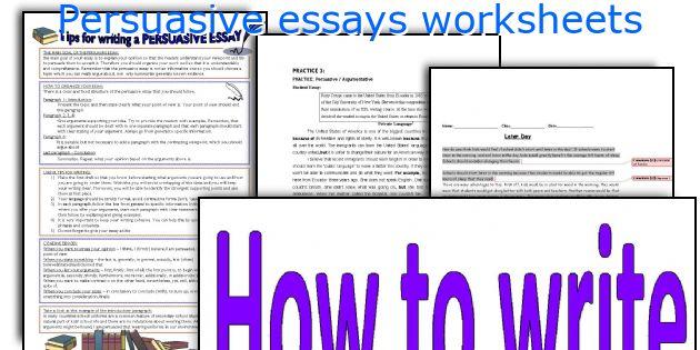 Persuasive essay printable worksheets