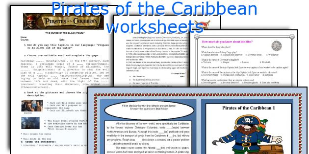 Pirates of the Caribbean worksheets
