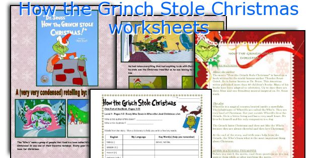 English teaching worksheets How the Grinch Stole Christmas – Christmas Grammar Worksheets