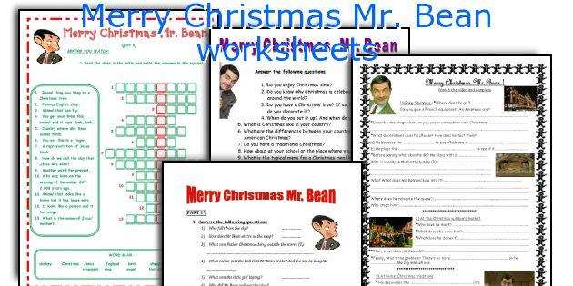Merry Christmas Mr Bean Worksheets