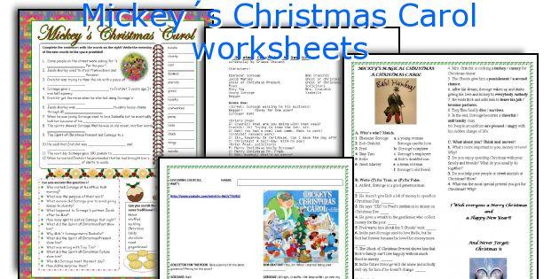 Christmas Carol Printable: English Teaching Worksheets: Mickey´s Christmas Carol