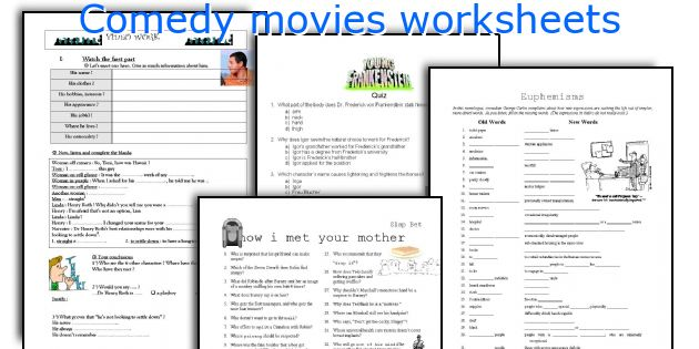 Comedy movies worksheets