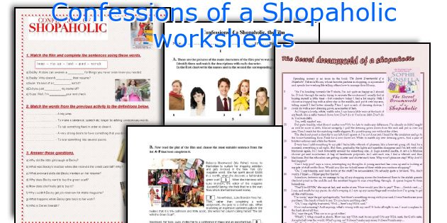Confessions of a Shopaholic worksheets