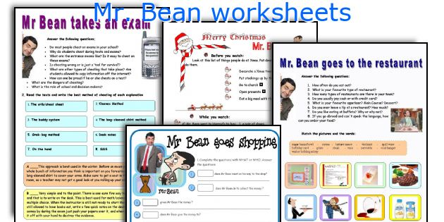 Mr. Bean worksheets