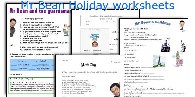 Mr Bean Holiday worksheets