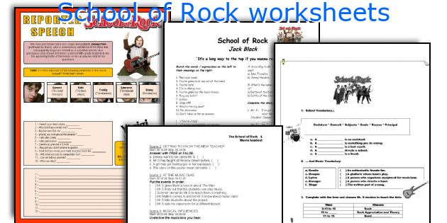 English teaching worksheets School of Rock – Rock Worksheets