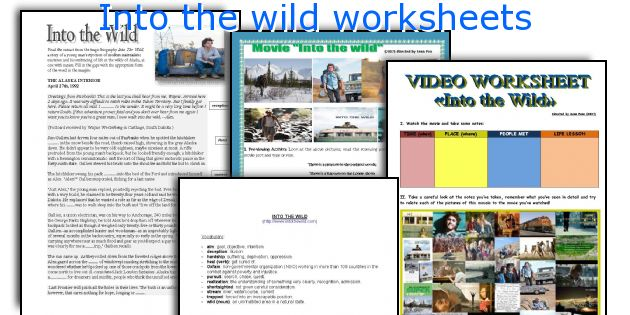 Into the wild worksheets