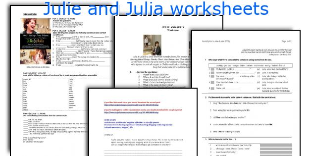 english teaching worksheets julie and julia. Black Bedroom Furniture Sets. Home Design Ideas