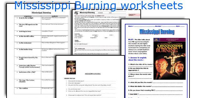 Mississippi Burning Worksheets