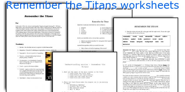 Remember The Titans Worksheets