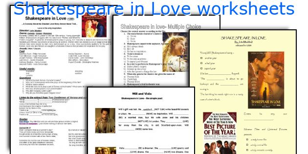 English teaching worksheets Shakespeare in Love – Shakespeare Worksheets
