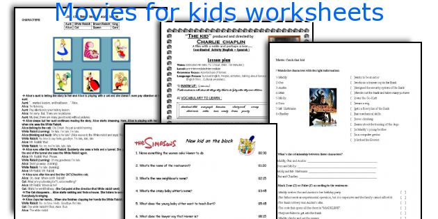 Movies for kids worksheets