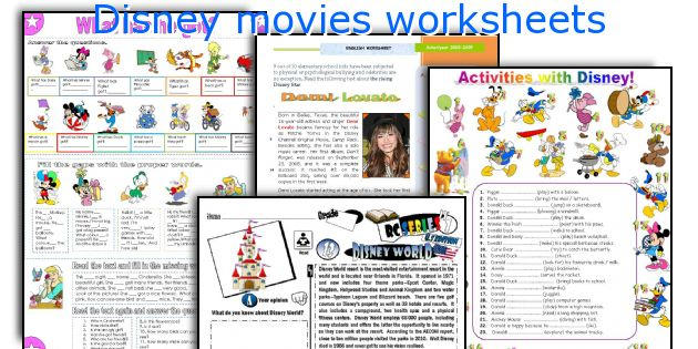 Disney movies worksheets