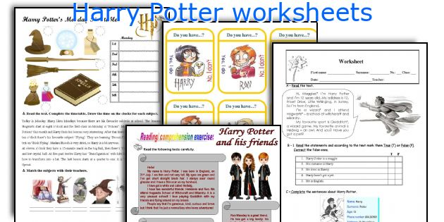 graphic regarding Harry Potter Activities Printable called Harry Potter worksheets