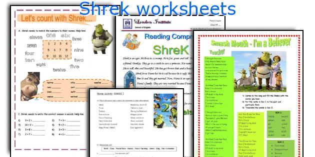 Shrek worksheets