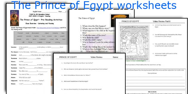 English teaching worksheets: The Prince of Egypt