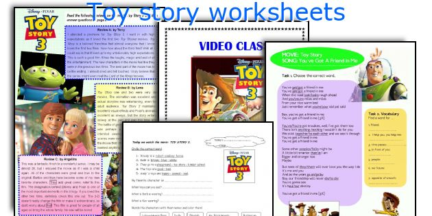 Toy story worksheets