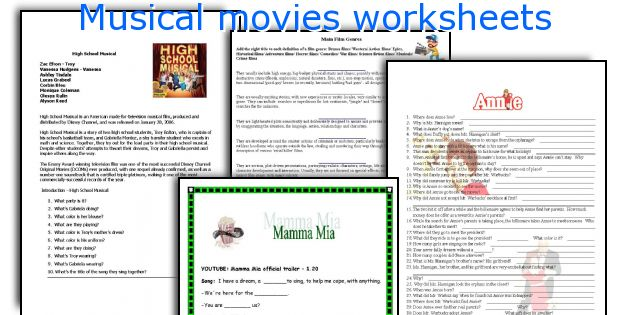 English Teaching Worksheets Musical Movies