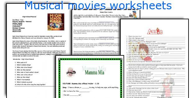 Musical movies worksheets