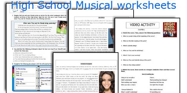 High School Musical Worksheets