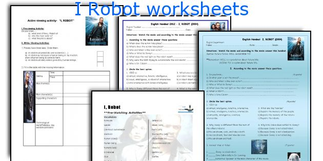 I Robot worksheets