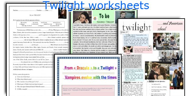 Twilight worksheets