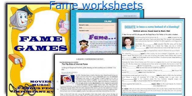 Fame worksheets