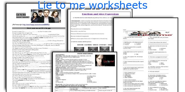 Lie to me worksheets