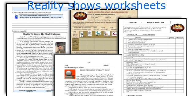 Reality shows worksheets