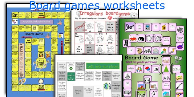 Board games worksheets