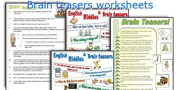 Brain teasers worksheets