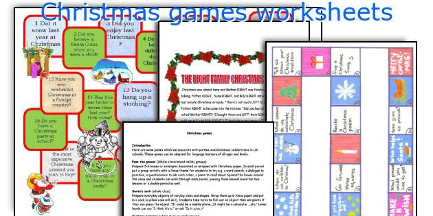 Christmas games worksheets