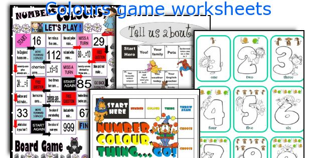 Colours game worksheets