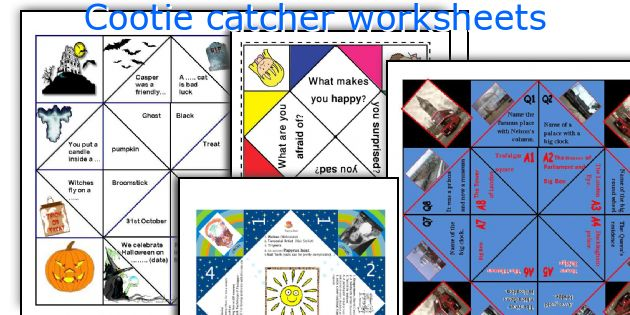 Cootie catcher worksheets