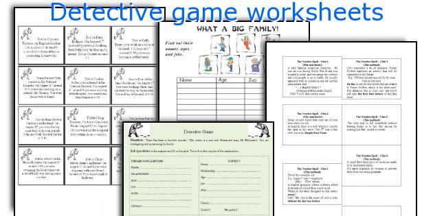 english teaching worksheets detective game