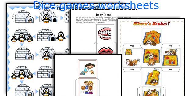 Dice games worksheets