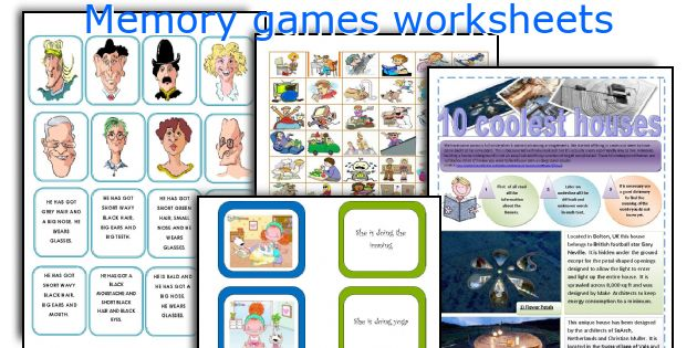 Memory games worksheets